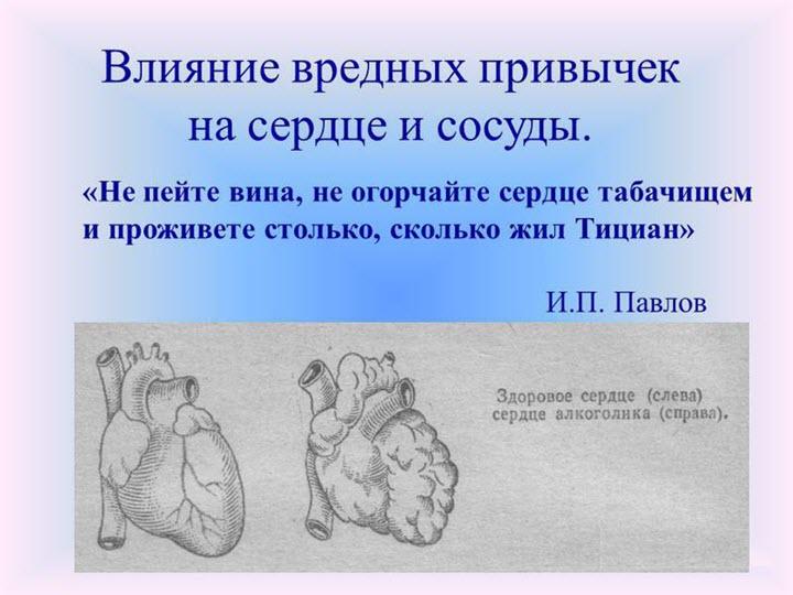 Влияние вредных привычек на сердце