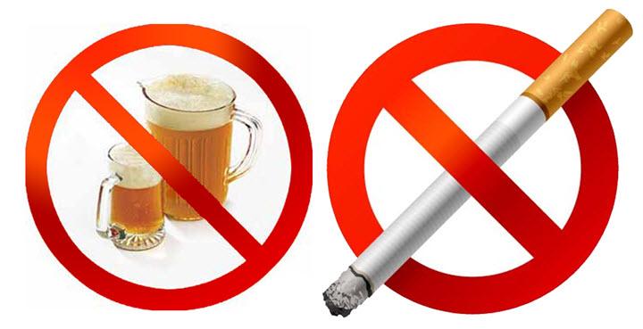 Перед сдачей анализа отказаться от алкоголя и курения
